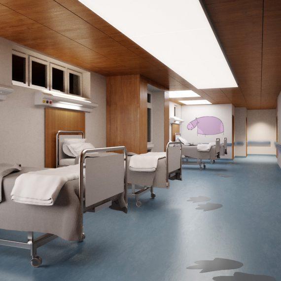 Una stanza degenti di un ospedale pediatrico calda e confortevole