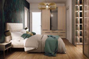 Camera da letto in rovere, pelle tortora, carta da parati tropicale e finiture dorate