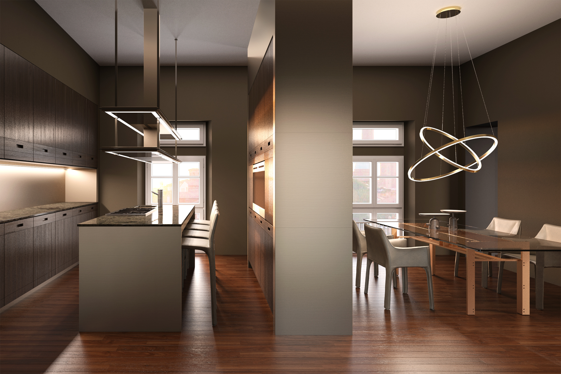 Ristrutturazione con cucina Archlinea bronzata con divisorio attrezzato