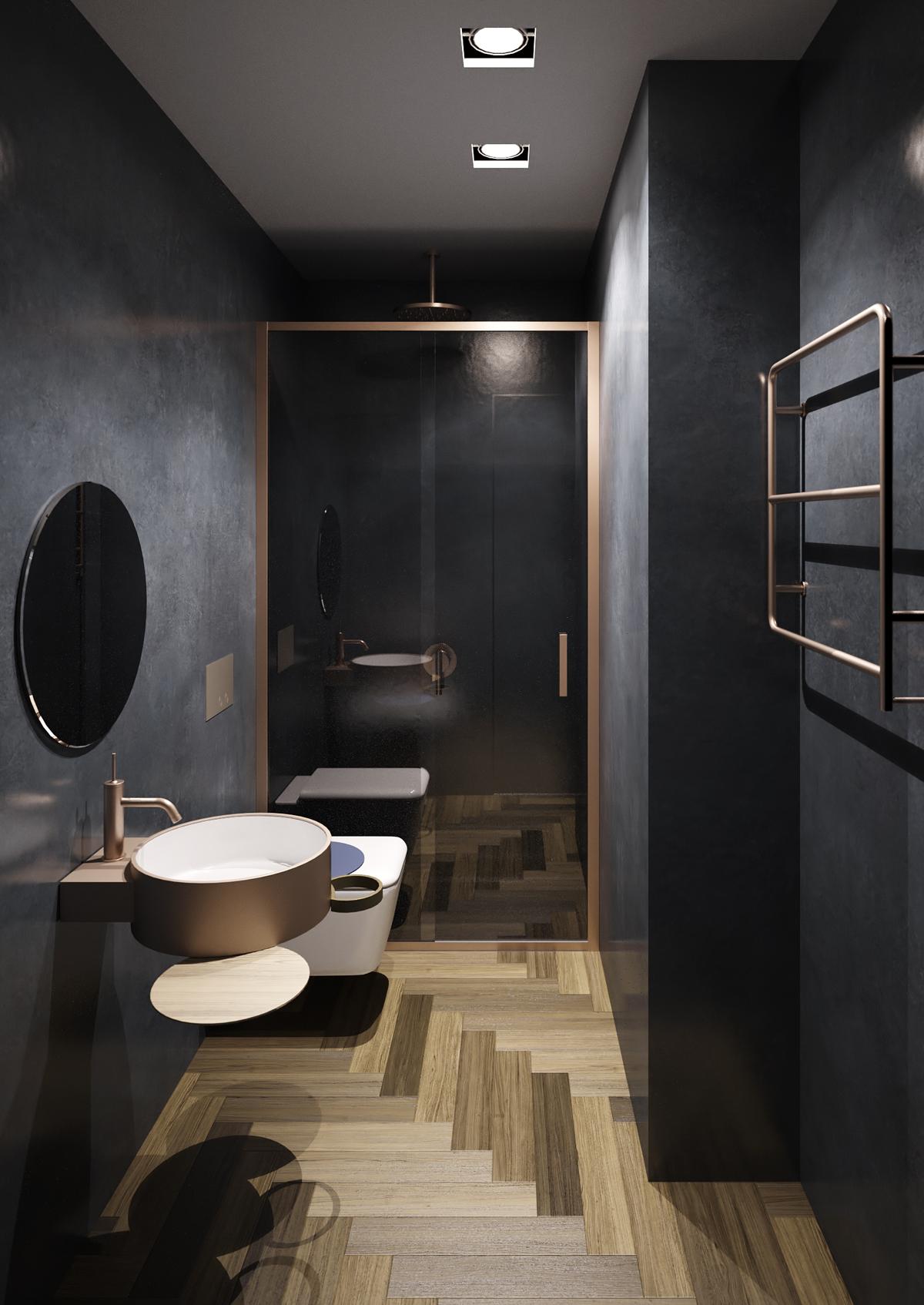 Rendering di un bagno minimalchic con parquet e pareti in stucco veneziano blu