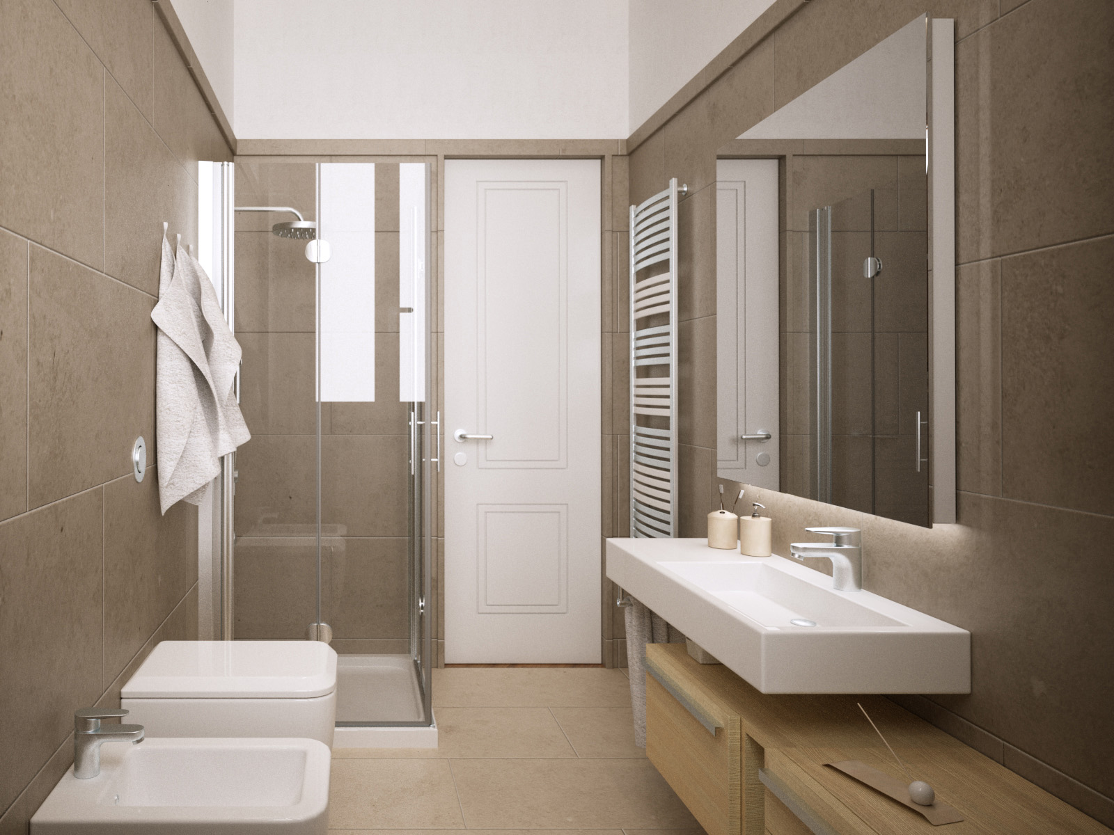 3digit bagno moderno minimale gres crema rendering firenze - Piastrelle bagno firenze ...