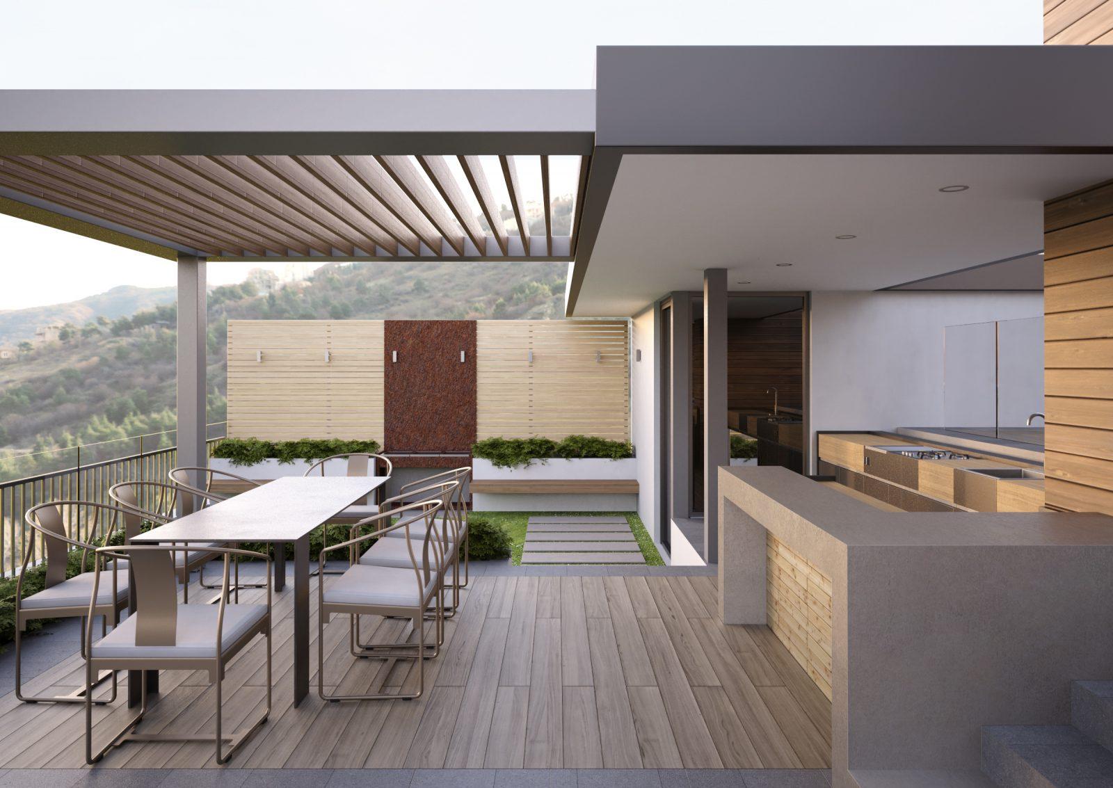 Rendering di un rooftop privato con barbecue, bar e tavolo al tramonto
