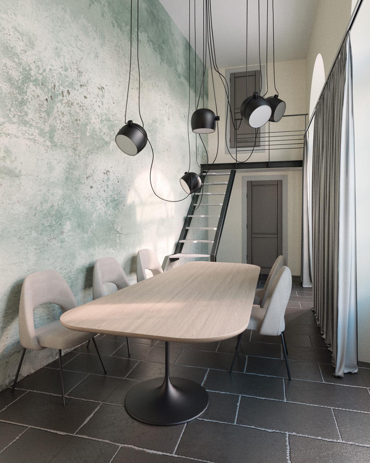 Piccola sala riunioni design neo '70 con parete turchese distressed