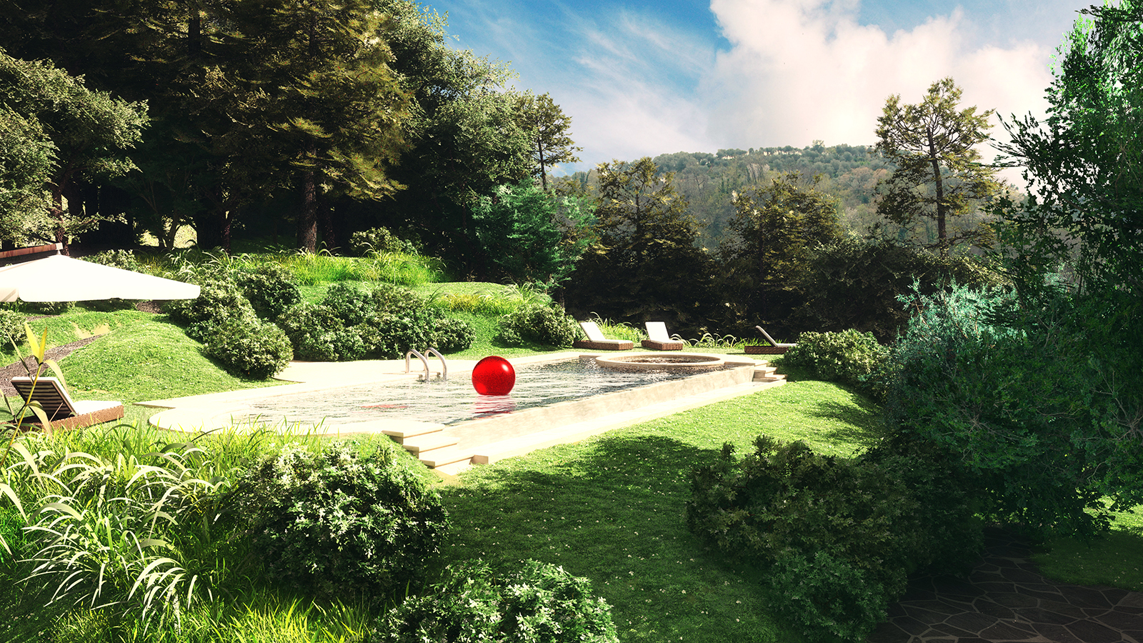 3digit rendering di giardino con piscina a pietrasanta - Giardino con piscina ...