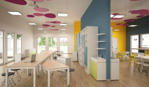 Aula-laboratorio con arredi mobili, colori vivaci e pannelli fonoassorbenti