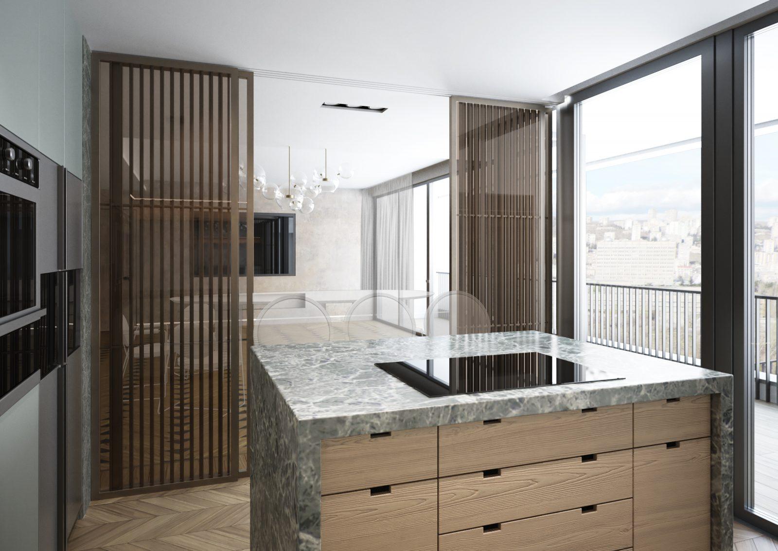 Isola cucina retrò anni '70 in marmo verde e metallo bronzato